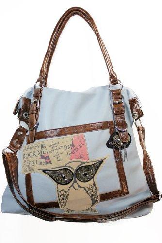 Artdiktat Designer Shopper Bag - Modell Eule Paillette - Handtasche Schultertasche, blaugrau