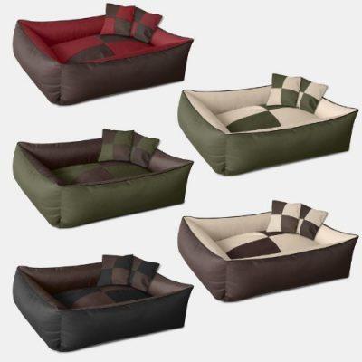BedDog 2in1 Hundebett MAX QUATTRO L bis XXXL, 6 Farben wählbar, Hundekissen Hundesofa Hundekorb,schwarz/braun L