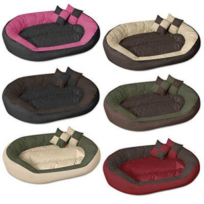BedDog 4in1 Hundebett SABA L bis XXXL, 7 Farben wählbar, Hundekissen Hundesofa Hundekorb, schwarz/braun XXL