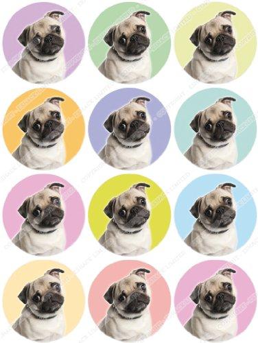 Cakeshop 12 x Vorgeschnittene und Essbare Hunde Kuchen Topper (Tortenaufleger, Bedruckte Oblaten, Oblatenaufleger)