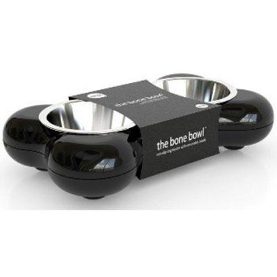 Hundenapf BONE - Futternapf Doppel-Napf Futterstation - ca. 2 x 250 ml Futtermenge - Maße ca. 36 x 22 x 7 cm - Farbe: Schwarz