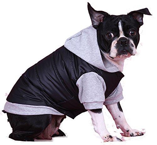 doggy dolly w109 hundejacke wasserabweisend mit kapuze schwarz grau wintermantel winterjacke. Black Bedroom Furniture Sets. Home Design Ideas