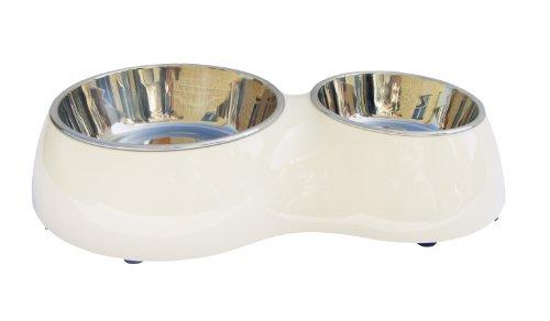 Dogit Metallnäpfe im Doppelnapf in weiss 400 ml