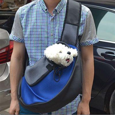 Doramior® portable weiche transportbox umhängetasche umhängetasche Heimtierbedarf für Hunden und Katzen (L, Blau)