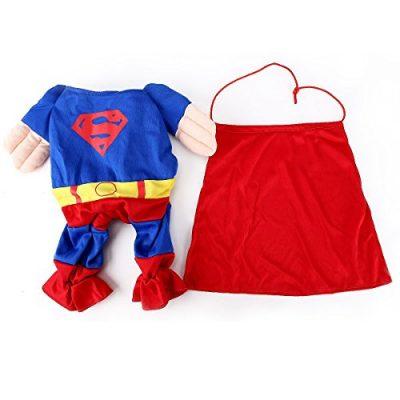 EQLEF® Kleidung für Hunde Katze Pet Puppy Dog Cat Pet Clothes, Superman Hundewelpen Katzen-Halloween-Kostüm-Kleidung-Haustier-Kleid Dress Up Superhund - Tierbedarf (kleine (Hals: 22-26cm))