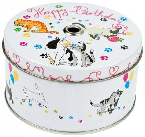 aktion geschenkdose 39 torte 39 mit kerze und konfetti motiv hund katze oder pferd auswahl katze. Black Bedroom Furniture Sets. Home Design Ideas