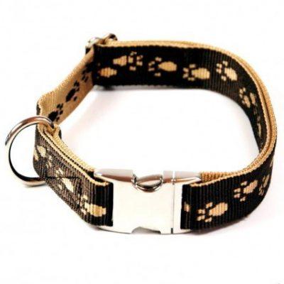 Hundehalsband, Alu-Max®, Soft Nylon, Braun, Beige Pfötchen, 30-50cm, 20mm, mit Zugentlastung