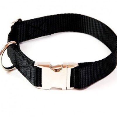 Hundehalsband-Alu-Max-Soft-Nylon-Uni-Schwarz-30-50cm-20mm-mit-Zugentlastung-0