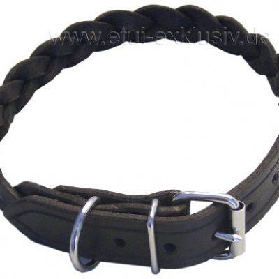 Hundehalsband-geflochten-Leder-dunkelbraun-50-cm-Halsung-0