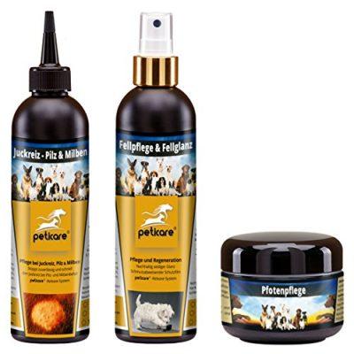 Hundepflege SET - peticare® Pilz & Milben, Fellpflege und Pfotenpflege