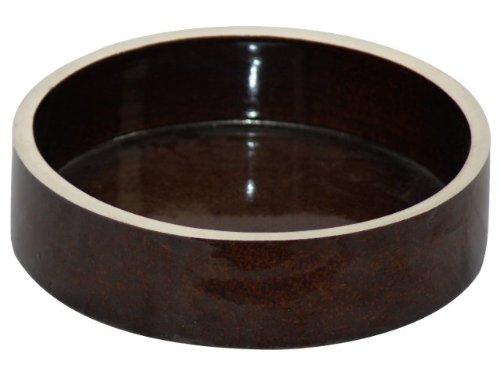 K&K Kleintier Futterschale 800 ml braun 20x6 cm aus schwerer Steinzeug-Keramik