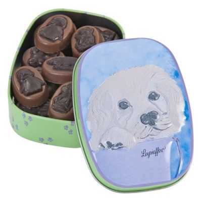 """Leysieffer - Kinderdose """"Hund"""" gefüllt mit Schokoladen-Reliefs 100 g"""