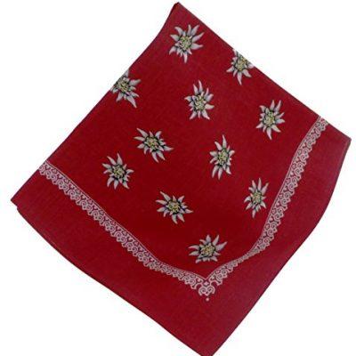 Modisches Nickituch mit Edelweißmotiv, Farbe: Rot