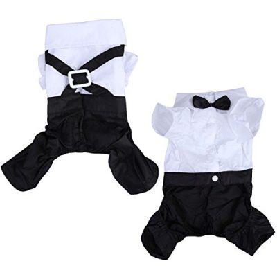 Vakind-Haustier-Hund-Katze-Anzug-Overall-mit-Fliege-Tuxedo-T-Shirt-Kostm-XXL-0