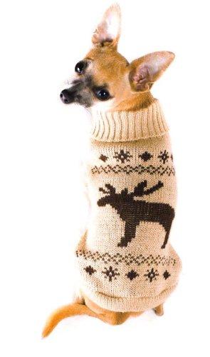 Wolters Strickpullover Elch Hunde Pullover Hundbekleidung beige/braun XS - XL
